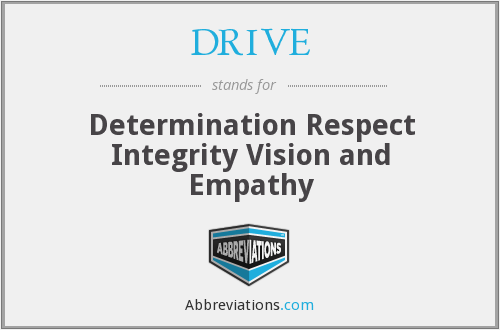 DRIVE - Determination Respect Integrity Vision and Empathy