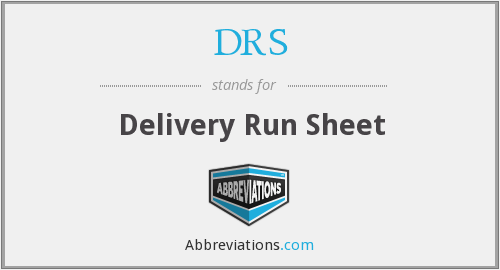 DRS - Delivery Run Sheet