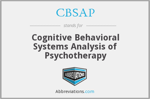 CBSAP - Cognitive Behavioral Systems Analysis of Psychotherapy