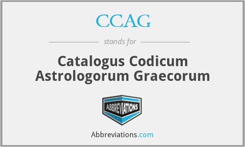 CCAG - Catalogus Codicum Astrologorum Graecorum
