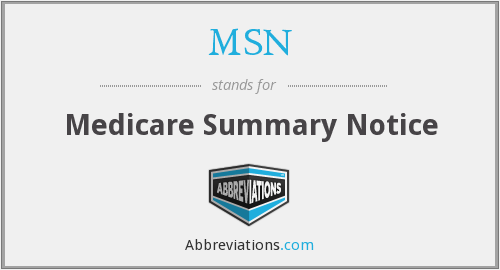 MSN - Medicare Summary Notice