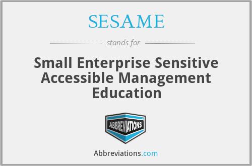 SESAME - Small Enterprise Sensitive Accessible Management Education