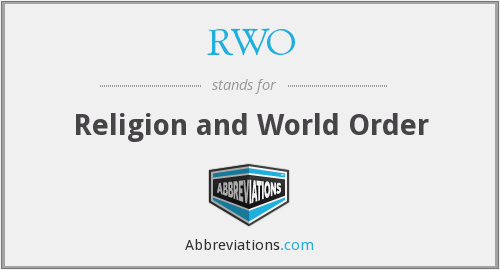 RWO - Religion and World Order