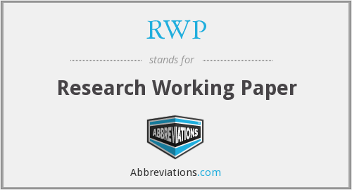 RWP - Research Working Paper