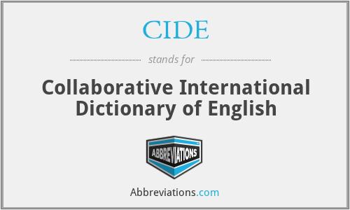 CIDE - Collaborative International Dictionary of English