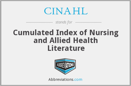 CINAHL - Cumulated Index of Nursing and Allied Health Literature