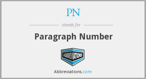 PN - Paragraph Number