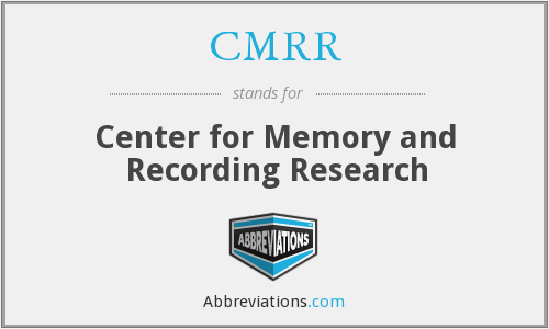 CMRR - Center for Memory and Recording Research