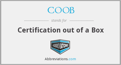 COOB - Certification out of a Box