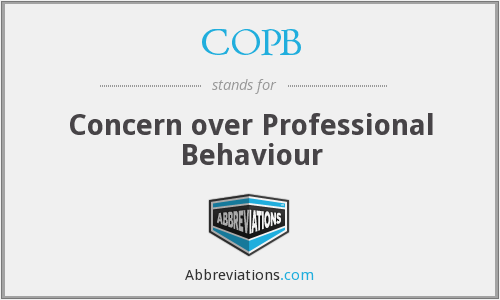COPB - Concern over Professional Behaviour