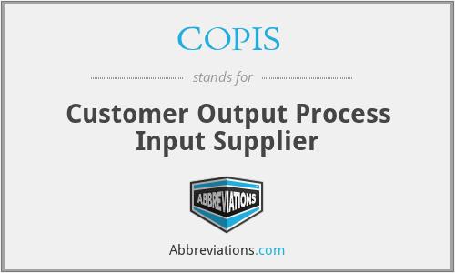 COPIS - Customer Output Process Input Supplier