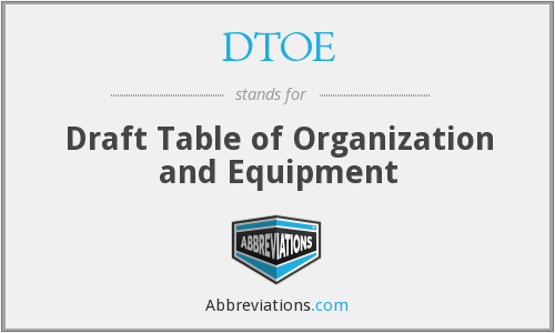 DTOE - Draft Table of Organization and Equipment