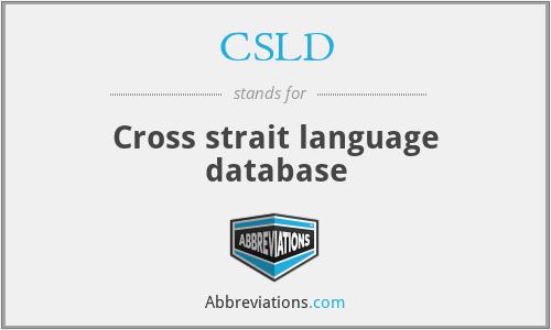 CSLD - Cross strait language database