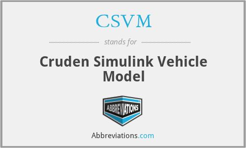 CSVM - Cruden Simulink Vehicle Model