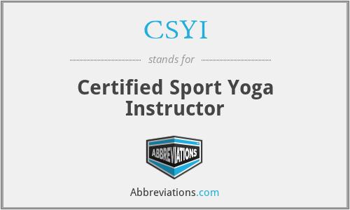 CSYI - Certified Sport Yoga Instructor