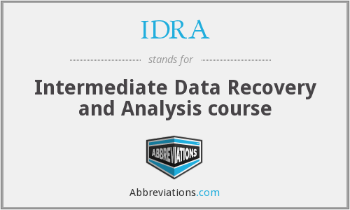 IDRA - Intermediate Data Recovery and Analysis course