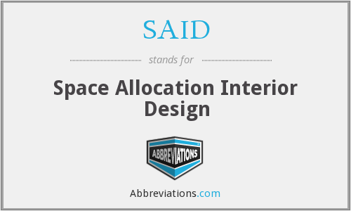 SAID - Space Allocation Interior Design