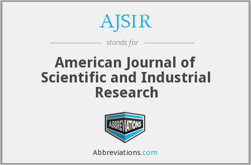 AJSIR - American Journal of Scientific and Industrial Research