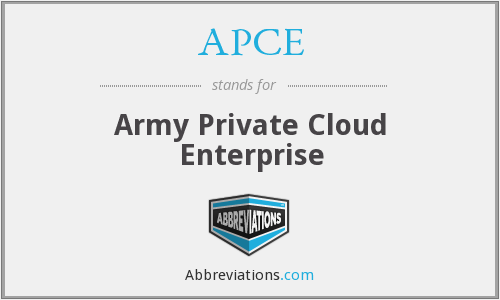 APCE - Army Private Cloud Enterprise