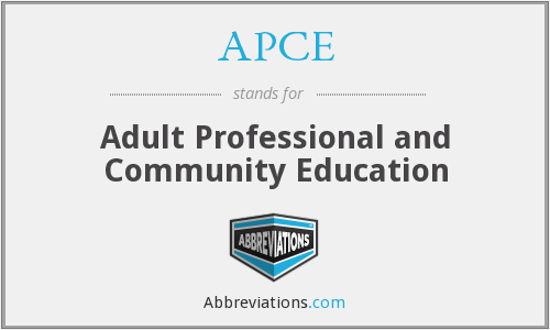 APCE - Adult Professional and Community Education