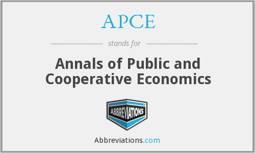 APCE - Annals of Public and Cooperative Economics