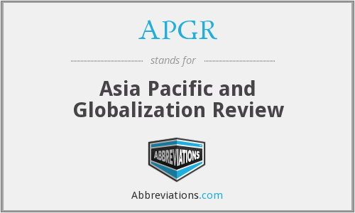 APGR - Asia Pacific and Globalization Review
