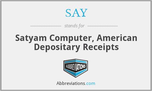 SAY - Satyam Computer, American Depositary Receipts