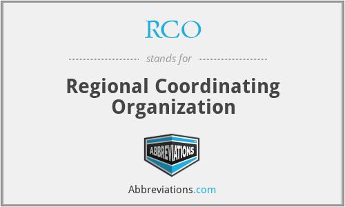 RCO - Regional Coordinating Organization