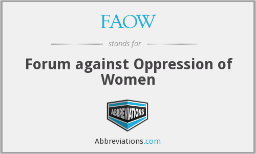 FAOW - Forum against Oppression of Women