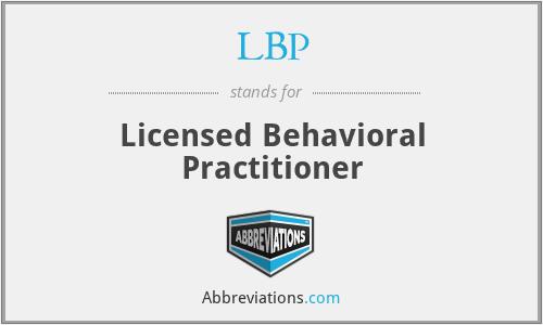 LBP - Licensed Behavioral Practitioner