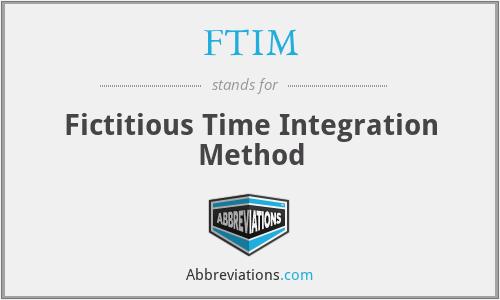 FTIM - Fictitious Time Integration Method