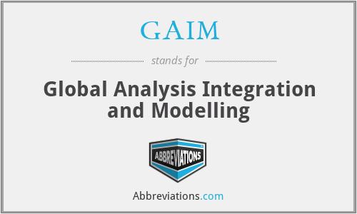 GAIM - Global Analysis Integration and Modelling