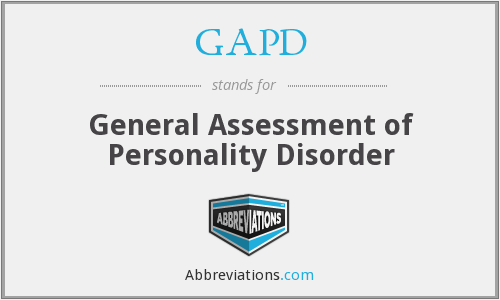 GAPD - General Assessment of Personality Disorder