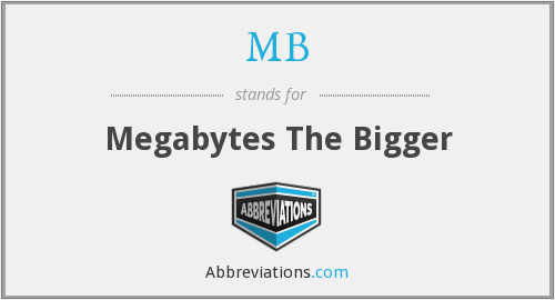 MB - Megabytes The Bigger