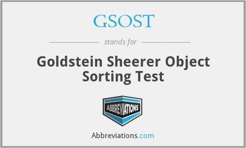 GSOST - Goldstein Sheerer Object Sorting Test