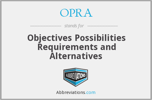 OPRA - Objectives Possibilities Requirements and Alternatives