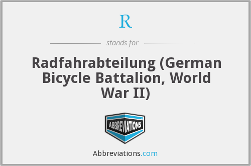 R - Radfahrabteilung (German Bicycle Battalion, World War II)