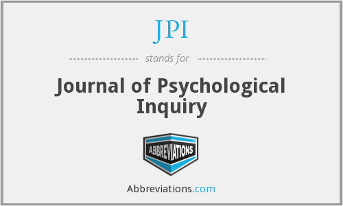JPI - Journal of Psychological Inquiry
