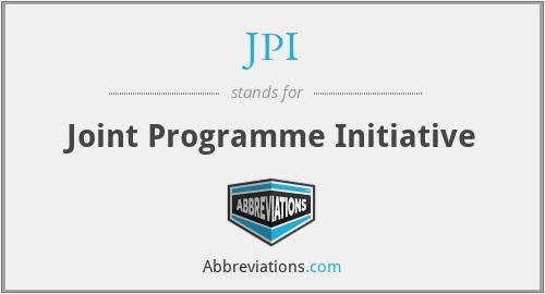 JPI - Joint Programme Initiative