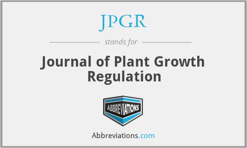JPGR - Journal of Plant Growth Regulation
