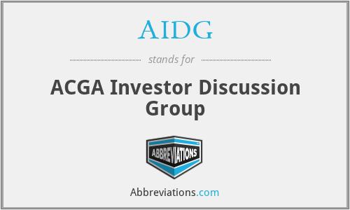 AIDG - ACGA Investor Discussion Group