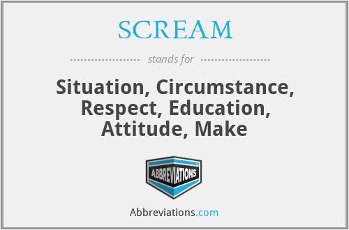 SCREAM - Situation, Circumstance, Respect, Education, Attitude, Make