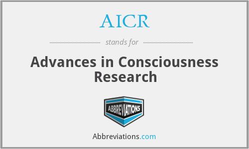 AICR - Advances in Consciousness Research