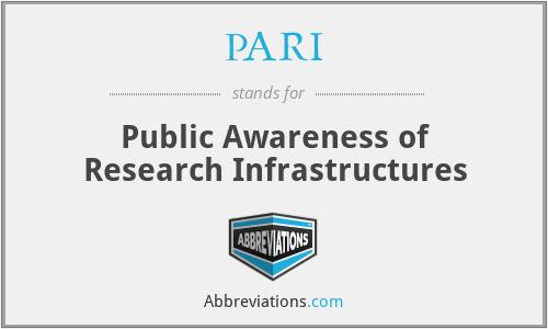 PARI - Public Awareness of Research Infrastructures
