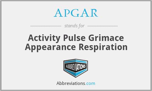 APGAR - Activity Pulse Grimace Appearance Respiration