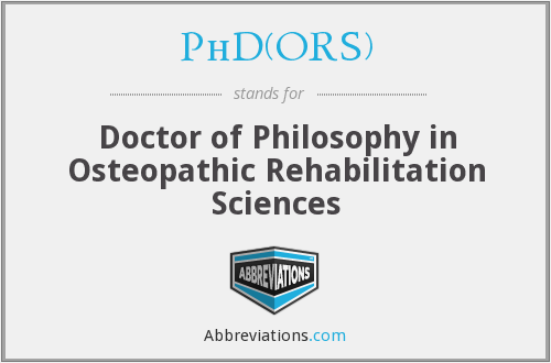 What does PHD(ORS) stand for?