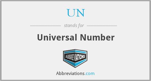 UN - Universal Number
