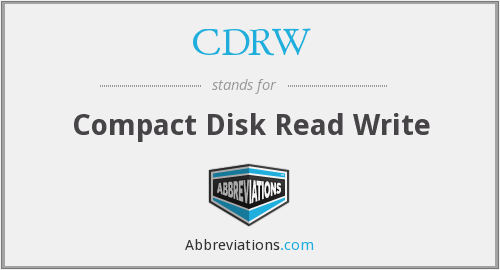 CDRW - Compact Disk Read Write