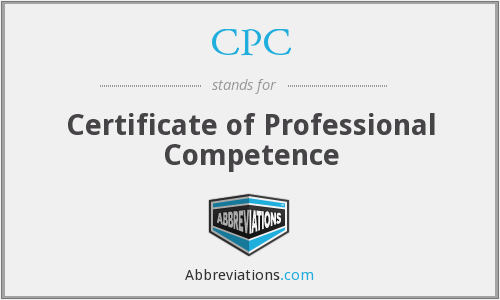 CPC - Certificate of Professional Competence