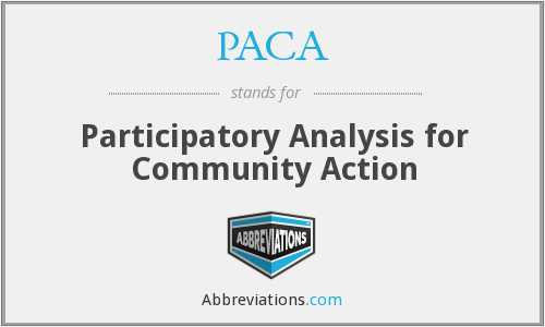 PACA - Participatory Analysis for Community Action